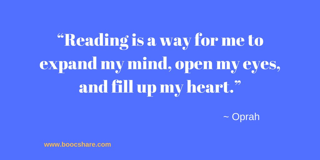 """""""Reading is a way for me to expand my mind, open my eyes, and fill up my heart."""" – Oprah #amreading #boocshare<br>http://pic.twitter.com/m5rIBleHBn"""