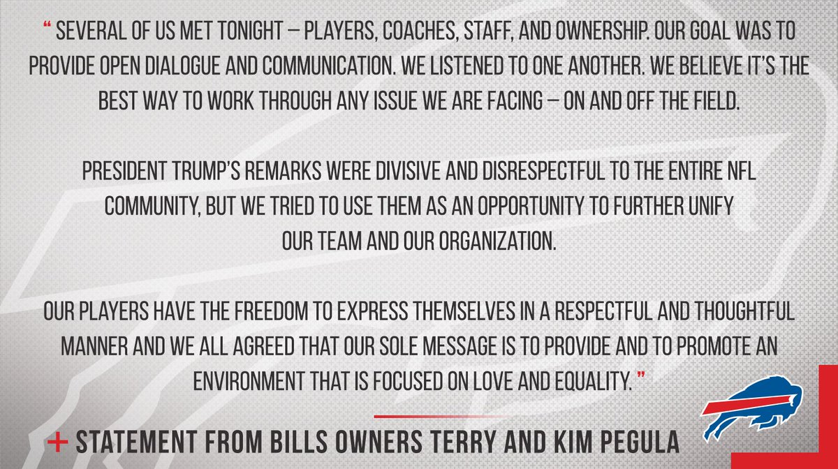 Statement from Buffalo Bills Owners Terry and Kim Pegula. https://t.co/i3D5xzBBSn