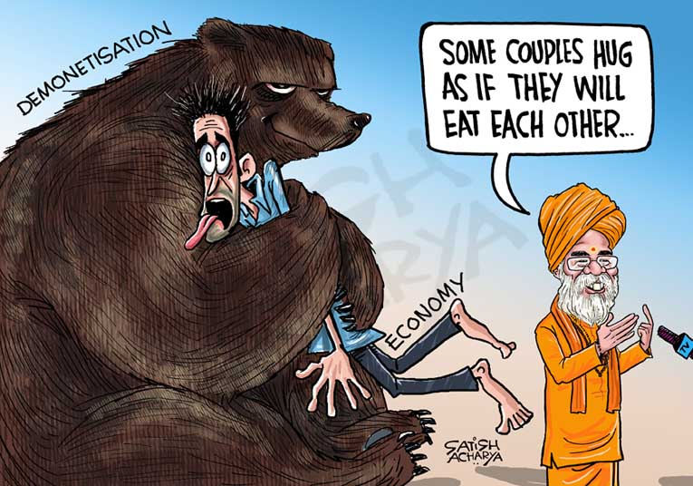 The bear hug! @mail_today cartoon #Demonetisation #economy <br>http://pic.twitter.com/4U6TwaYO6g