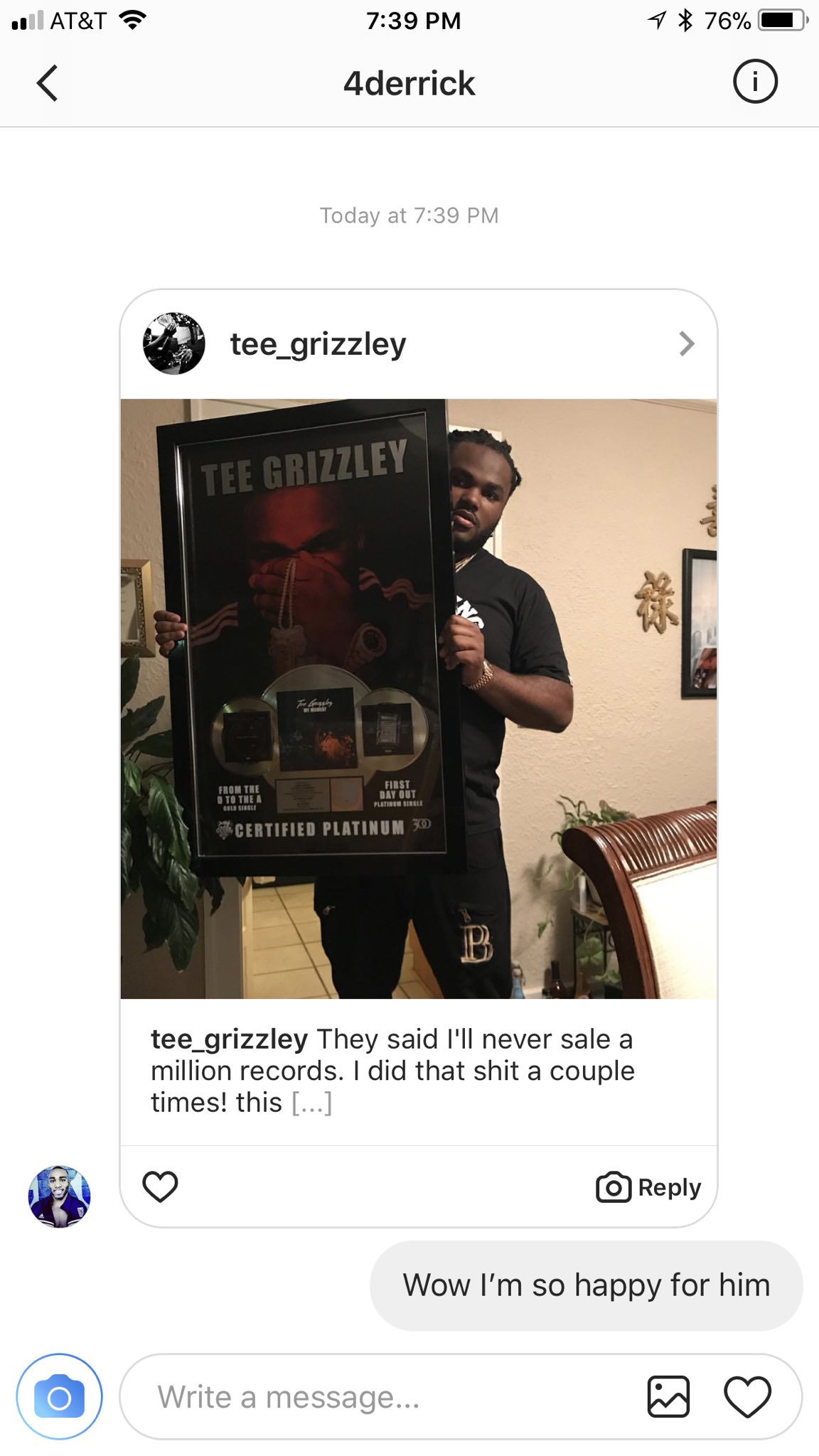 Yo @Tee_Grizzley congrats playa https://t.co/3nBBTDx05V