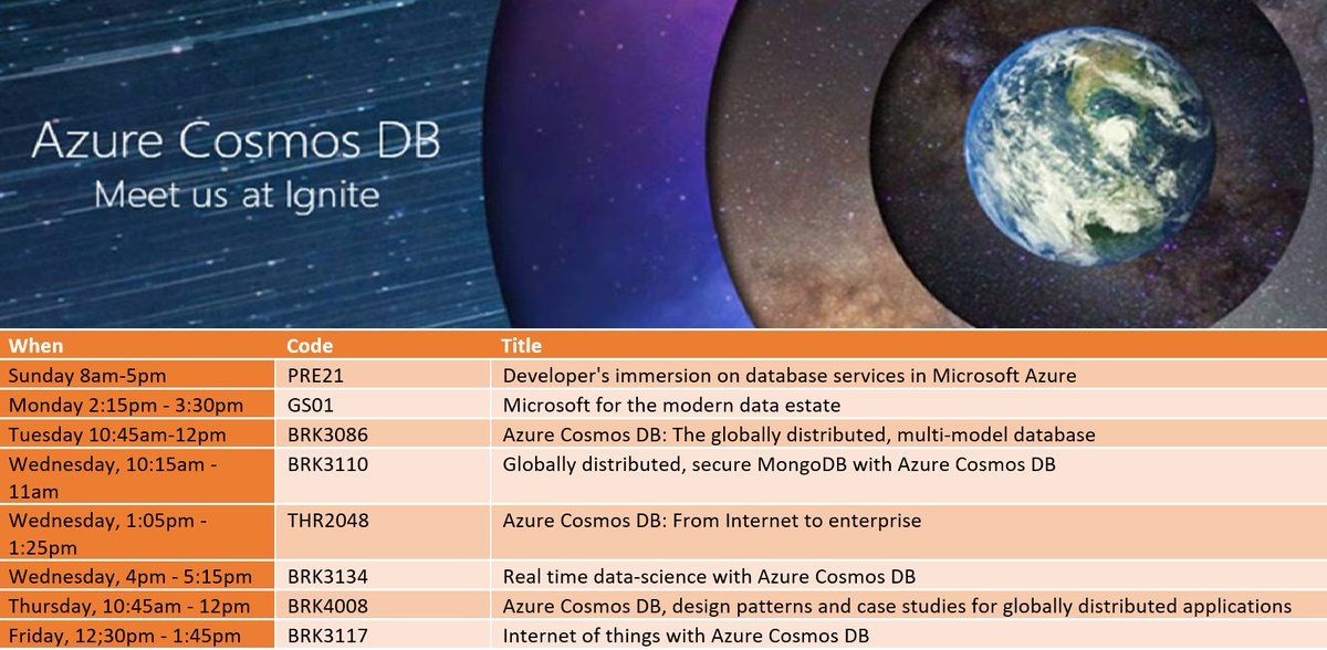 Here are #Azure #CosmosDB sessions at #MSIgnite. We&#39;ll also have a booth on expo floor w/ many team members there #MSIgnite2017 #MSIgnite17<br>http://pic.twitter.com/Z1QVu1rpzp