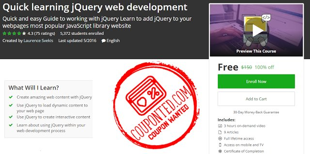 (#Udemy 100% Off) Quick learning #jQuery web development  http:// bit.ly/2wOQJiO  &nbsp;  <br>http://pic.twitter.com/Bnlno7G3oX