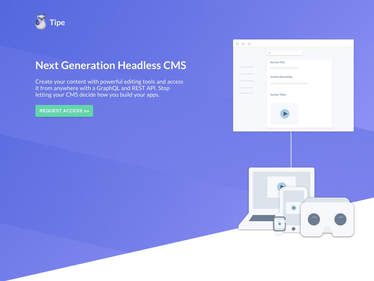 Tipe: Next Generation #HeadlessCMS Create your content and access it from anywhere with a #GraphQL or #REST #API  https:// tipe.io  &nbsp;  <br>http://pic.twitter.com/g6sUhoAMgW