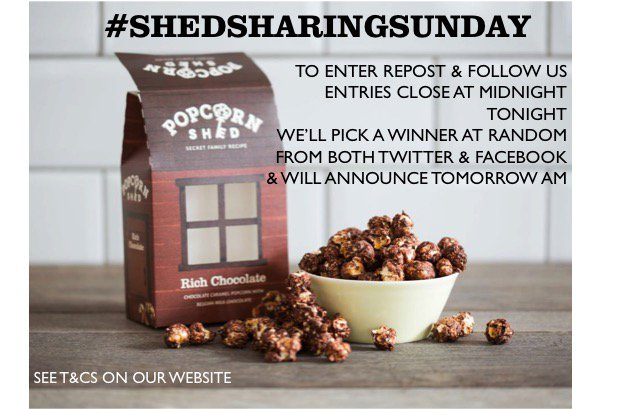ENTER #Competition #ShedSharingSunday Retweet &amp; Follow for chance to #win Popcorn Shed treats!Pls Share: the best film you've seen recently?<br>http://pic.twitter.com/8hvfuQajlY