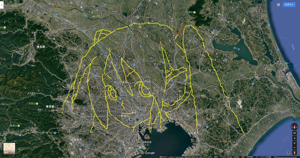 9か月ぶりに #初音ミク の #gpsdrawing をつくば市で実施。これでのべ54日、総移動距離1160.99km。完成まであと少し(^^) https://t.co/7XlbtYo6nK https://t.co/MstQo4sA5F