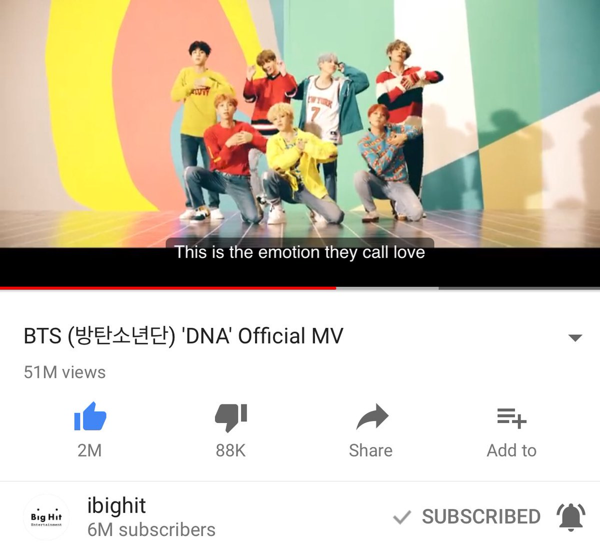 [!] @BTS_twt #DNA MV became the fastest K-pop group MV to reach 50M+ views earlier today, in a record 5 days &amp; 18h. <br>http://pic.twitter.com/RsxqZf76eL