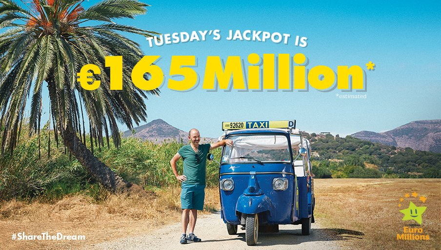 Splash out on your own island! Tuesday's #EuroMillions Jackpot is €165 Million est. #ShareTheDream  http:// bit.ly/2fqcQJQ  &nbsp;   Play responsibly<br>http://pic.twitter.com/lyQYMP9dwa