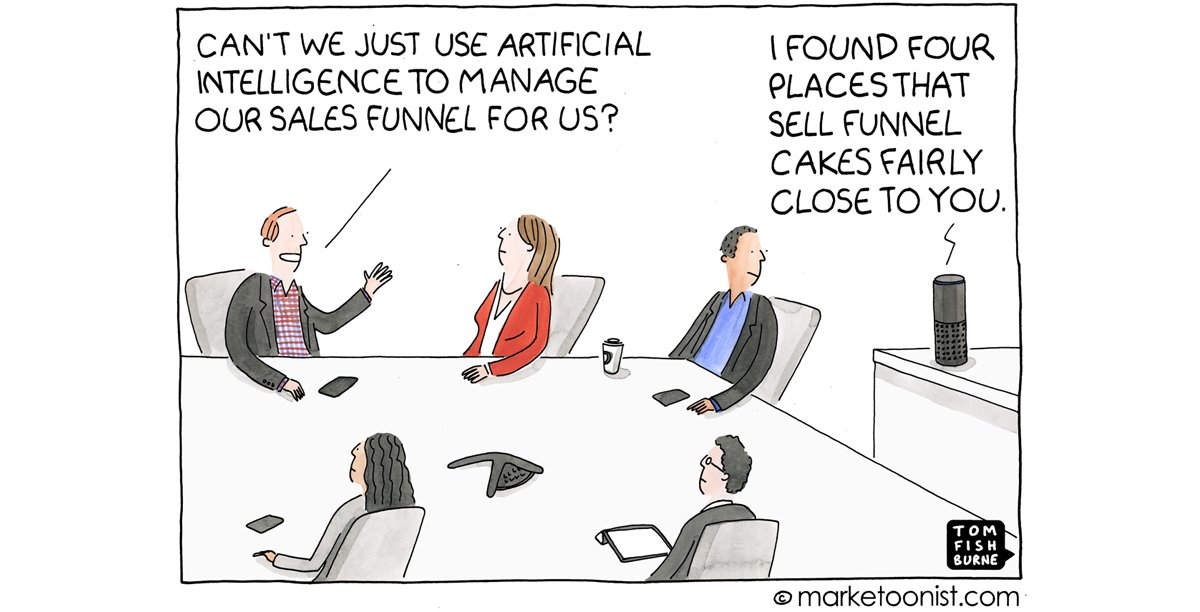 """""""Artificial Intelligence Hype"""" - new cartoon and post on the marketing promise of AI  https:// marketoonist.com/2017/09/ai.html  &nbsp;   #marketing #cartoon<br>http://pic.twitter.com/ExbBKzMdqH"""