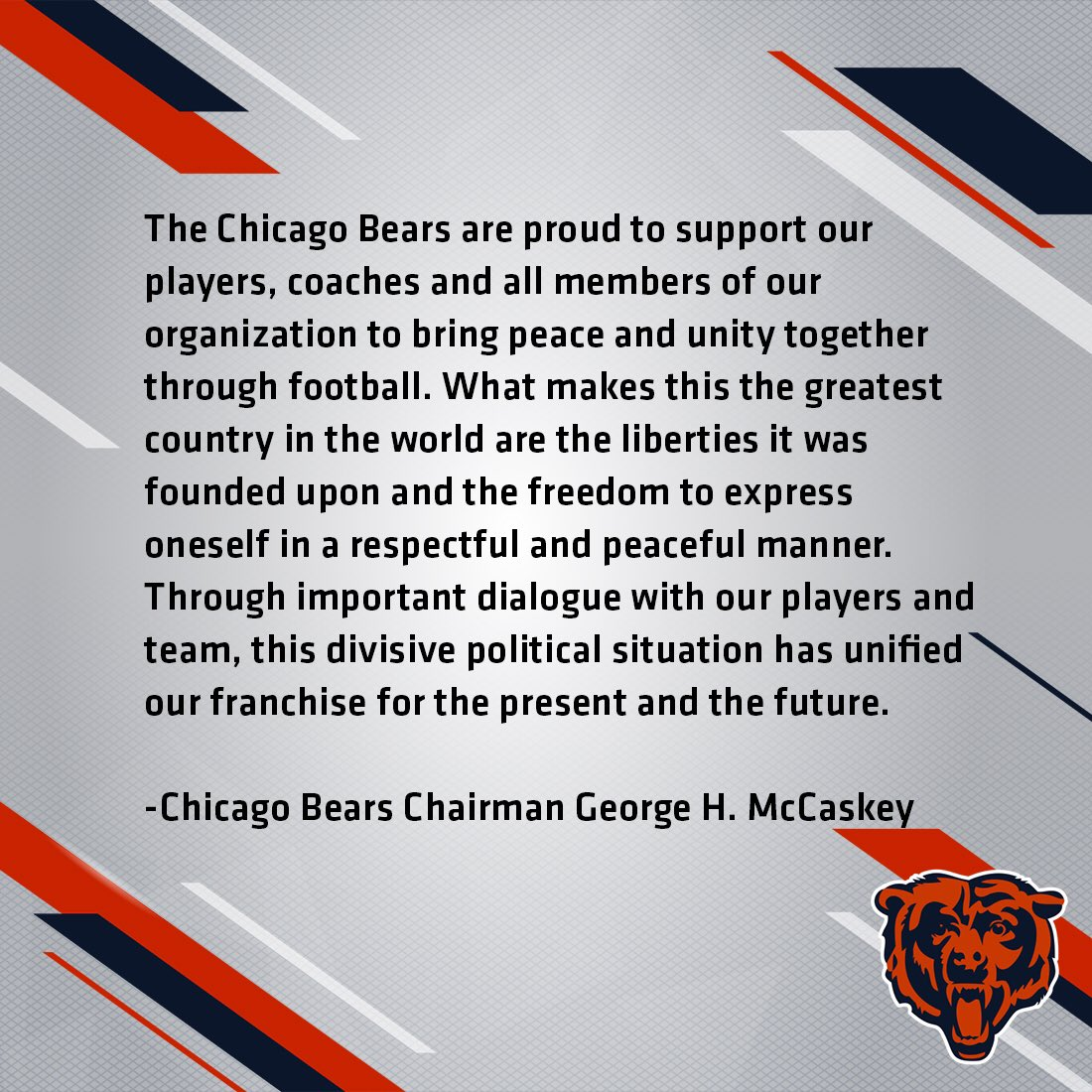Statement from Chicago Bears Chairman George H. McCaskey. https://t.co...