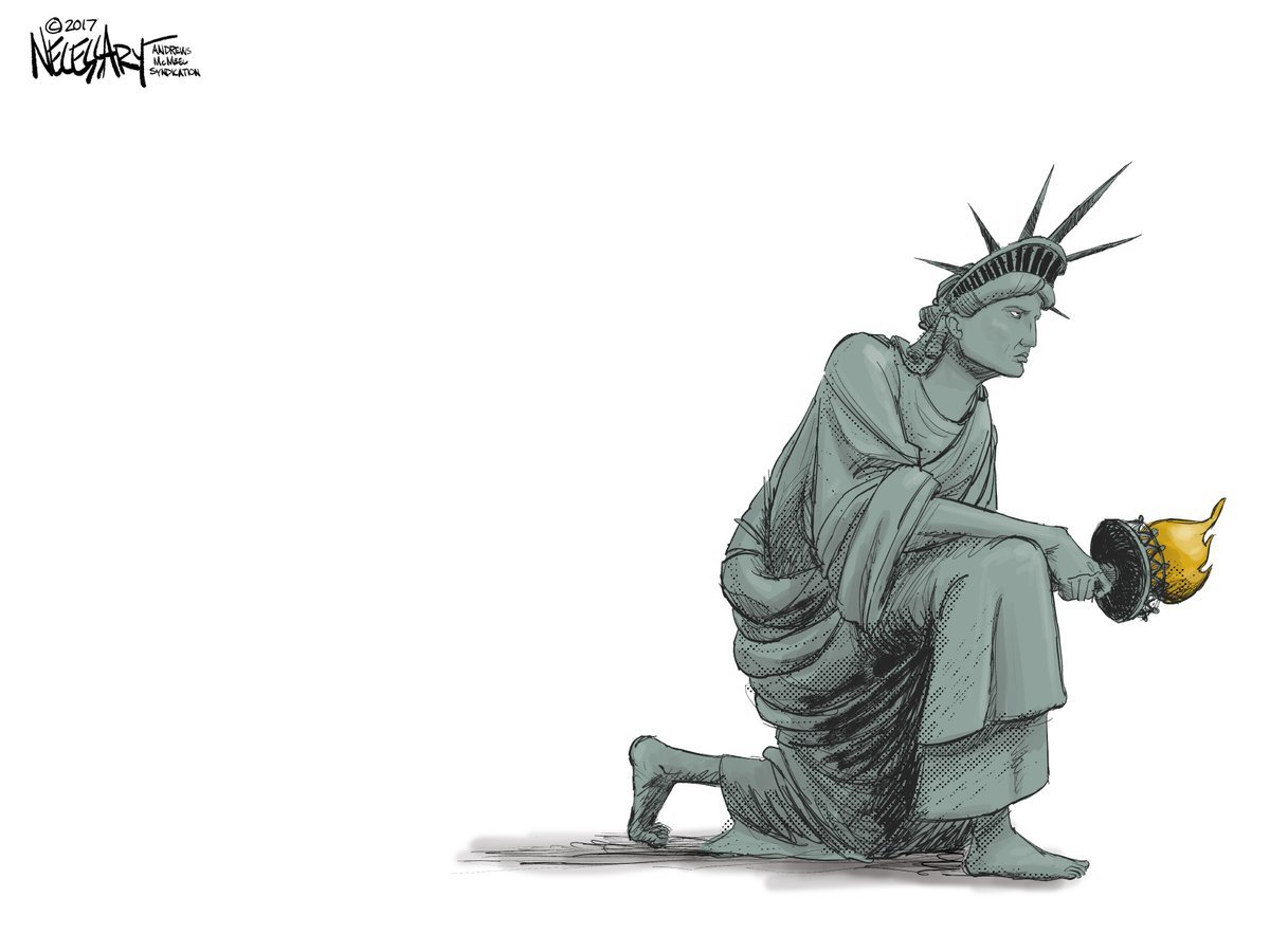 BEST EDITORIAL CARTOON EVER: Lady #Liberty in solidarity with the #CONSTITUTION  @knecessary  #TakeAKneeNFL  #BoycotttheNFL  #ImpeachTrump<br>http://pic.twitter.com/dAoNEfja6P