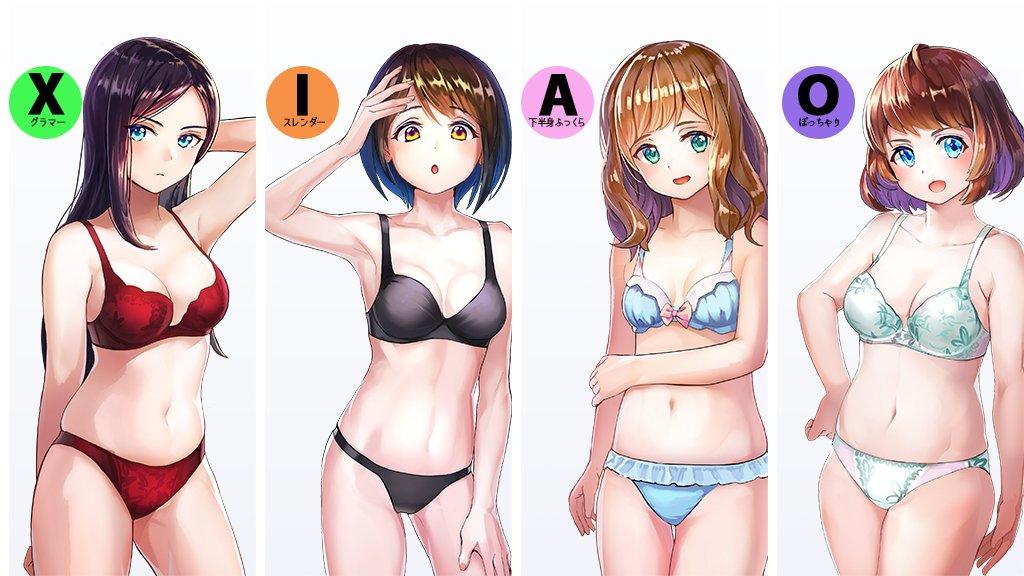 女性の体型を大きく四つに分けてみました(自分の勉強用) この中でどれが一番好きでしょうか??