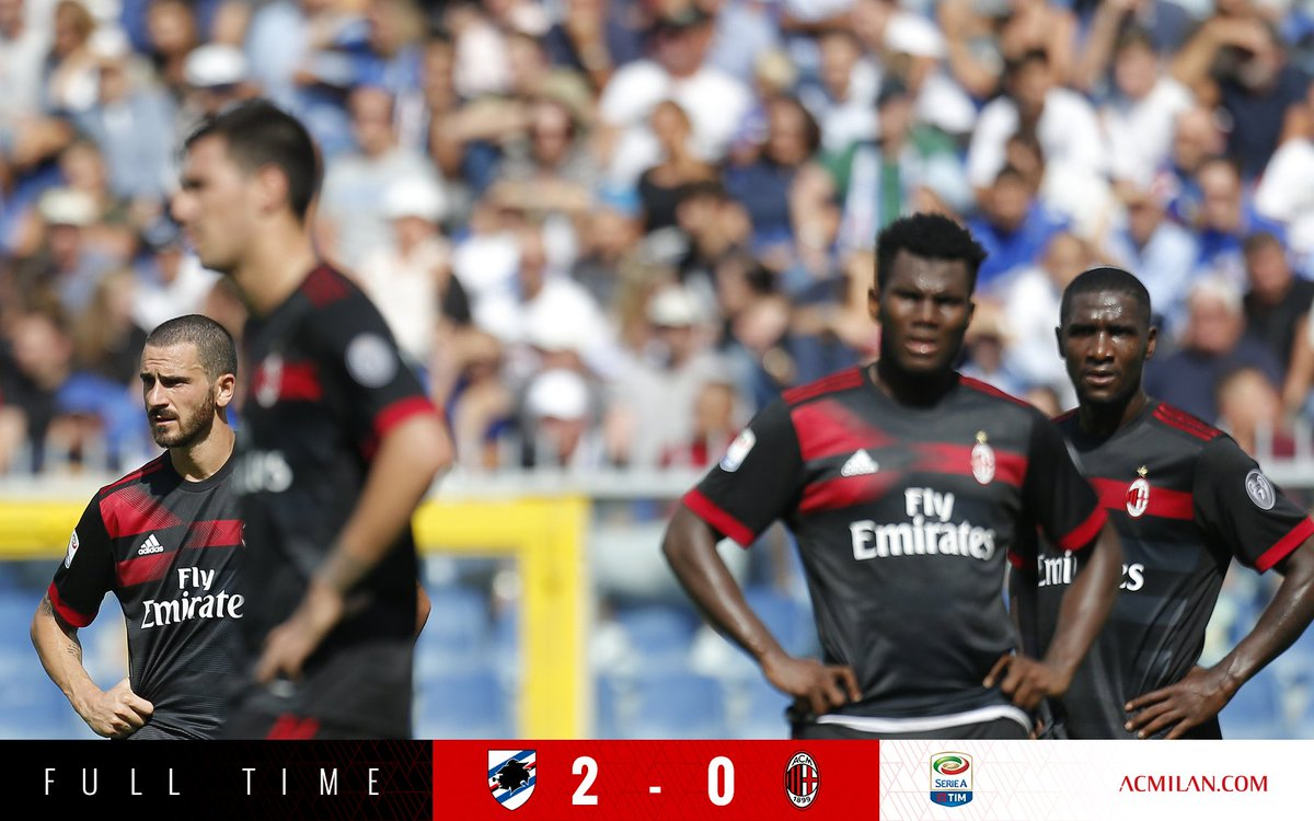 RT @acmilan: Full Time / Fischio finale #SampdoriaMilan 2-0 https://t.co/XHR53VOdQ1