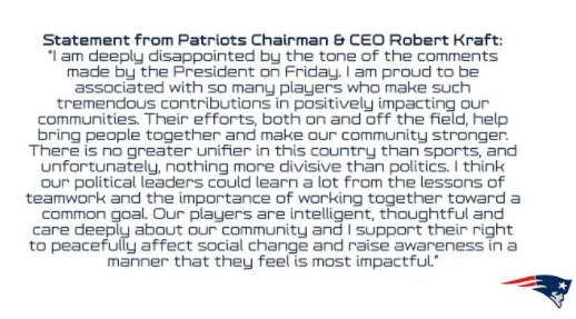In a statement, #Patriots owner Robert Kraft says he supports the players' right to protest. https://t.co/v3YUo9GAEp