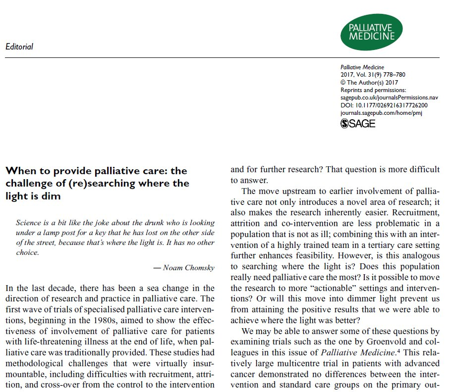 When to provide #palliativecare. Editorial on challenge of #research by Camilla Zimmerman.  http:// journals.sagepub.com/doi/full/10.11 77/0269216317726200 &nbsp; …  #hpm<br>http://pic.twitter.com/jbzhy2fk7U