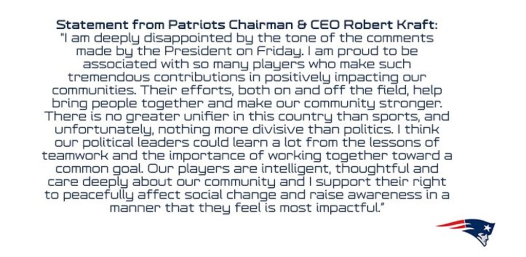 NEW: Patriots CEO Robert Kraft releases a statement saying he is 'deeply disappointed' by Pres. Trump's comments https://t.co/v88J6KcUT9