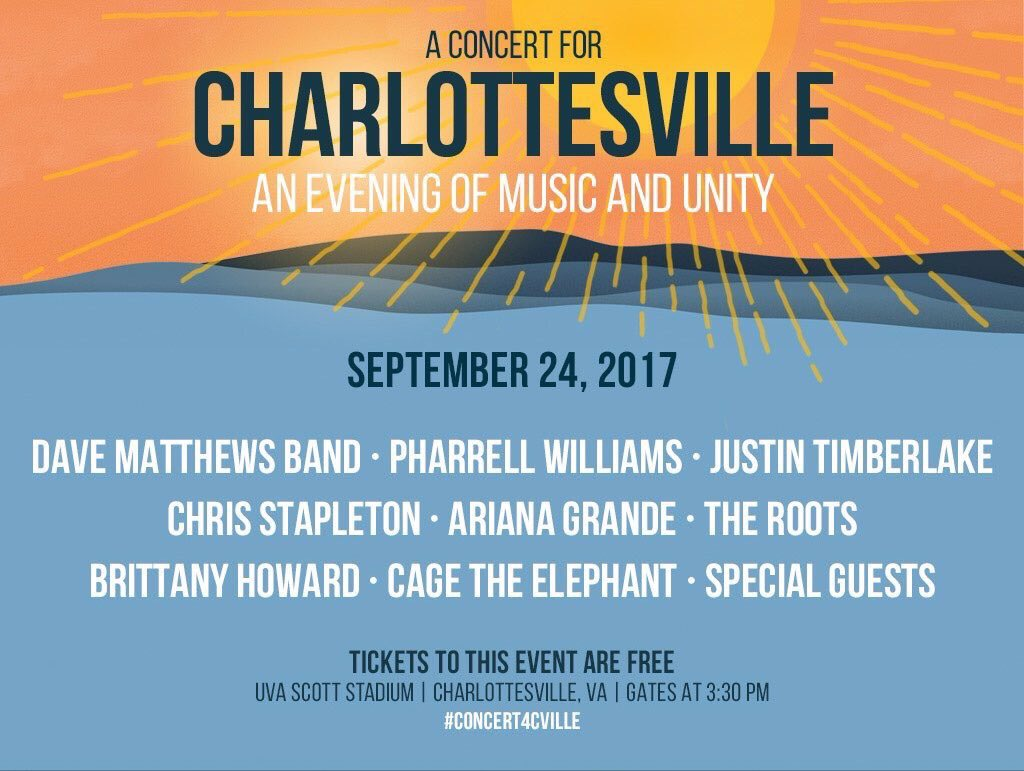 Today @ArianaGrande is performing at the #Concert4Cville ☀️🎵 https://t...