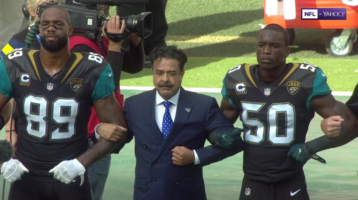 """Trump: """"NFL owners should fire players who protest!""""  Shad Khan: https..."""