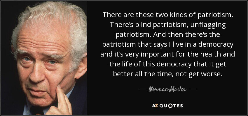 blind patriotism essay Nationalism and globalization by politicians to promote national unity and patriotism blum apparently said if love is blind, patriotism has lost all five.