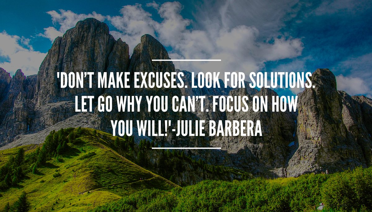 &#39;Turn #excuses into #solutions Let go of why you can&#39;t.Focus on how you will!#ThinkBIGSundayWithMarsha #perspective #determination #mindset <br>http://pic.twitter.com/K0Xn5CyCpN