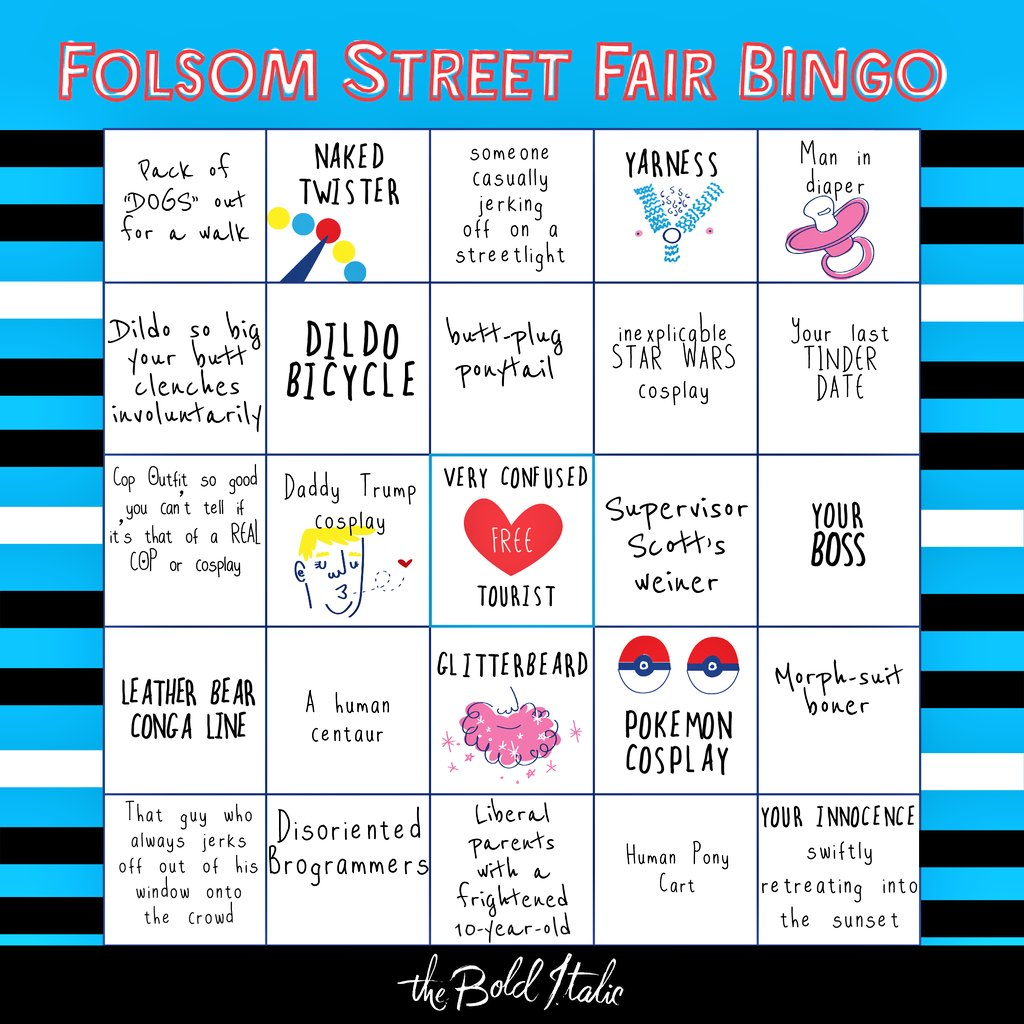 Heading to #FolsomStreetFair today? Don&#39;t forget your sunscreen, safe word &amp; bingo card! #SF #SanFrancisco <br>http://pic.twitter.com/XjYY1f6mbA