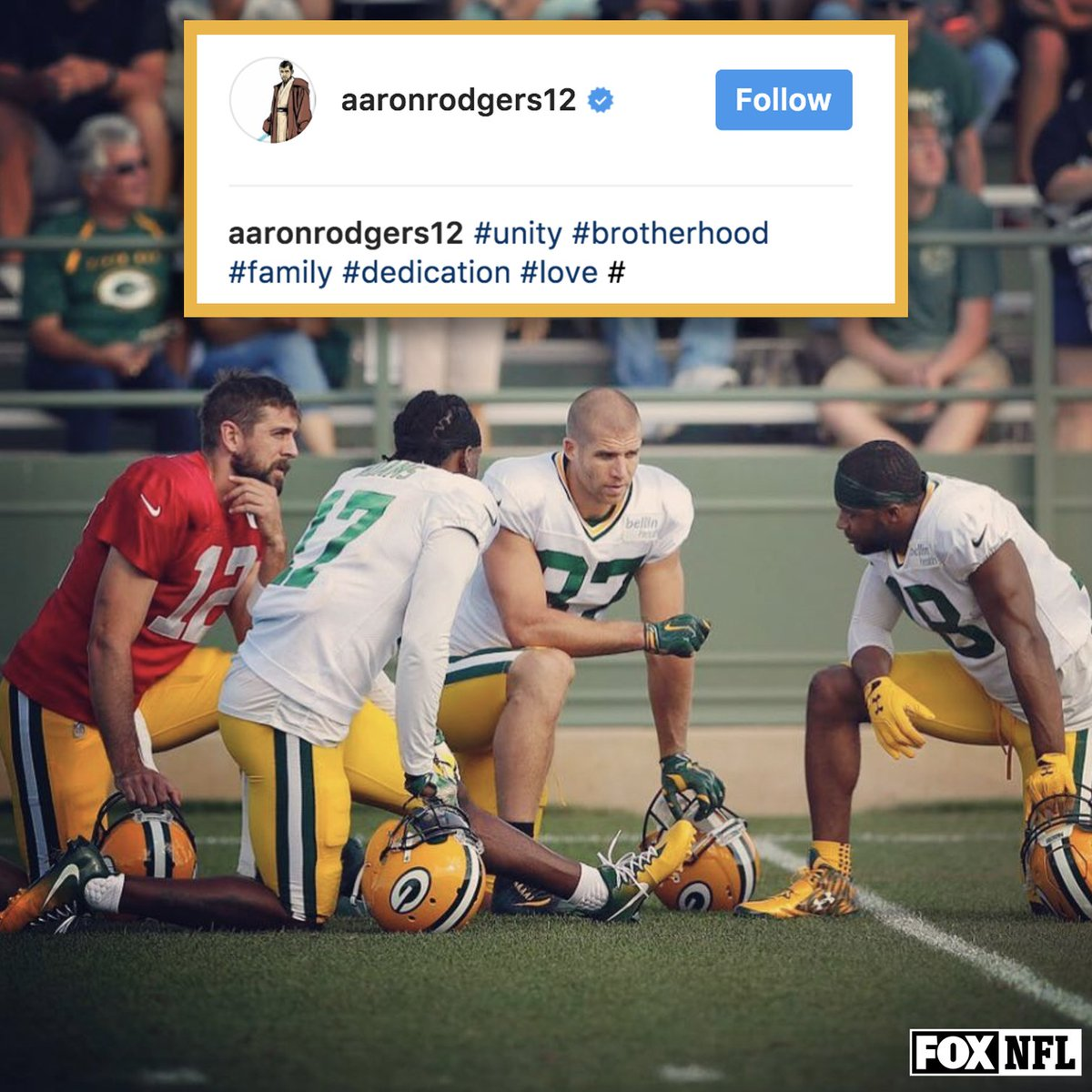 Aaron Rodgers posted a message of unity on his Instagram this morning...