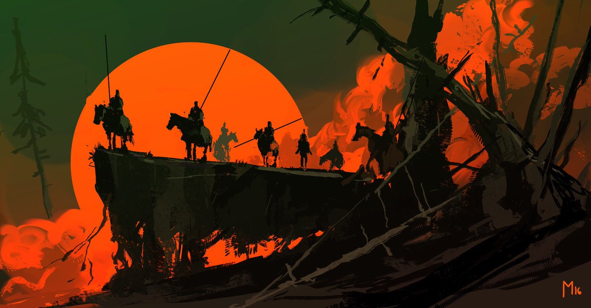 The Silver Seven - #knights #medieval #fantasy #horses #sunset #rider #bloodmoon #painting #illustration #art<br>http://pic.twitter.com/yGEchfx7jq