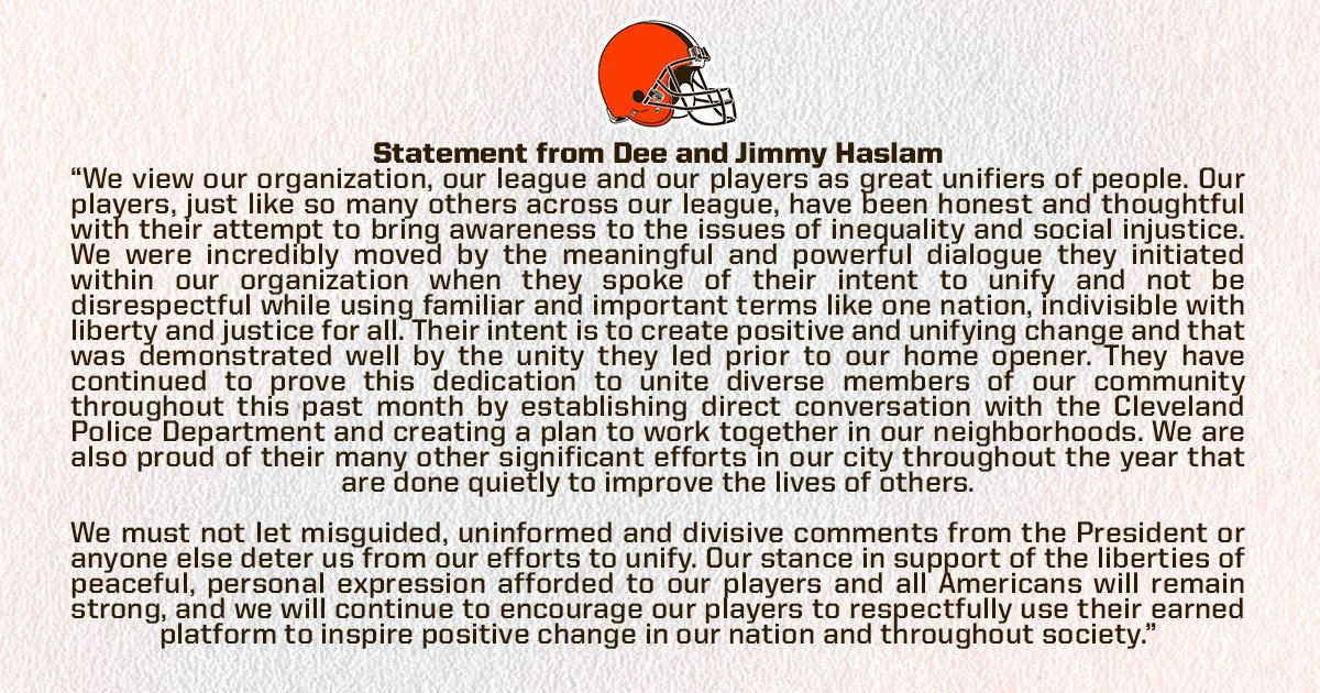 Statement from Dee and Jimmy Haslam http...
