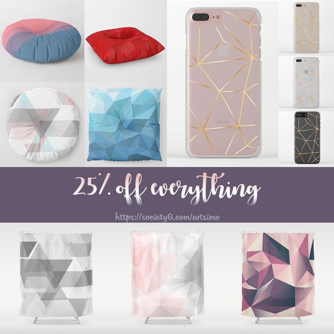 25% off Everything &gt;&gt; #promotion  #society6  https:// society6.com/artsimo  &nbsp;   #artsimo #showercurtain #clearcase #floorpillow #polygon #geometric<br>http://pic.twitter.com/ZAsr5NcdC7