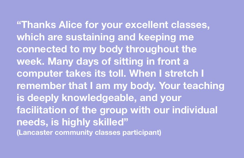 Some lovely feedback about Alice's community classes in Lancaster! If you'd like to join us just get in touch! #wellbeing #community <br>http://pic.twitter.com/y7gGEStENq