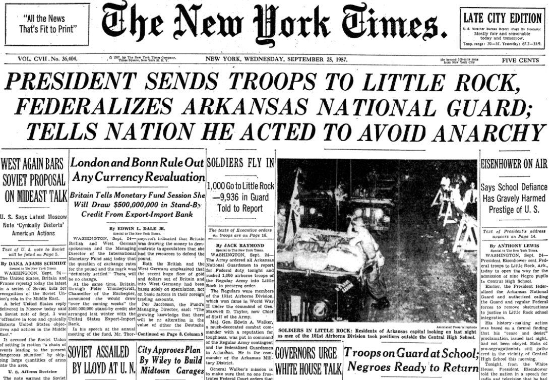 The front page #OTD in 1957. Eisenhower sends troops to Little Rock to enforce school integration. <br>http://pic.twitter.com/7efQlruAdq