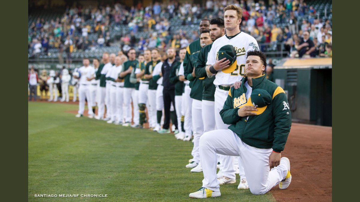 Thank you, @joanwalsh, for acknowledging @bruu_truu13, the first @MLB player to kneel for the anthem.  #AMJoy <br>http://pic.twitter.com/8EIXXrI0qr
