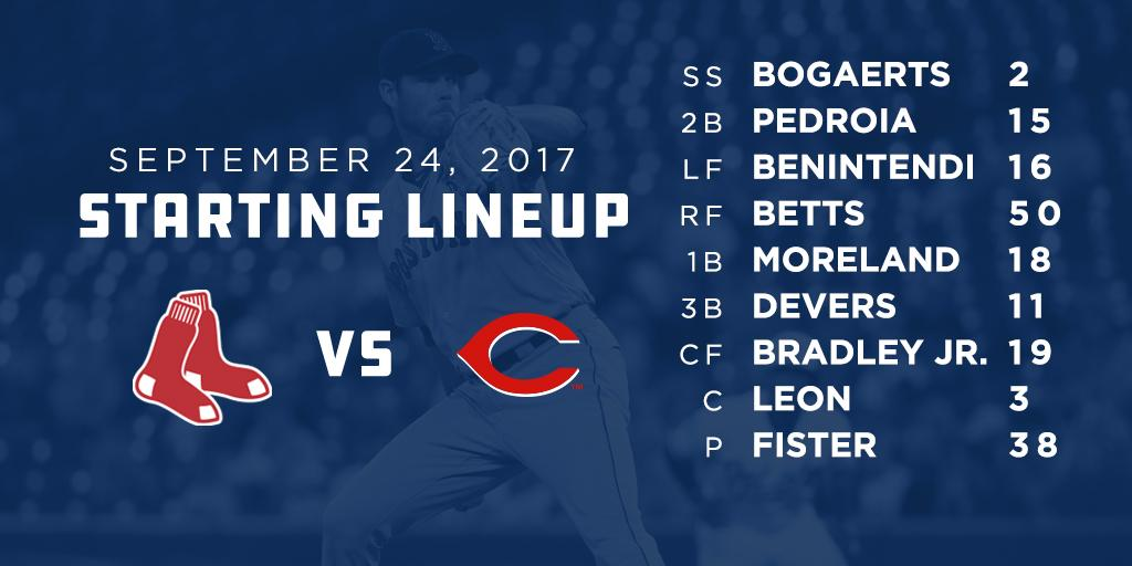 Doug Fister is on the bump as the #RedSox go for the sweep in Cincinna...