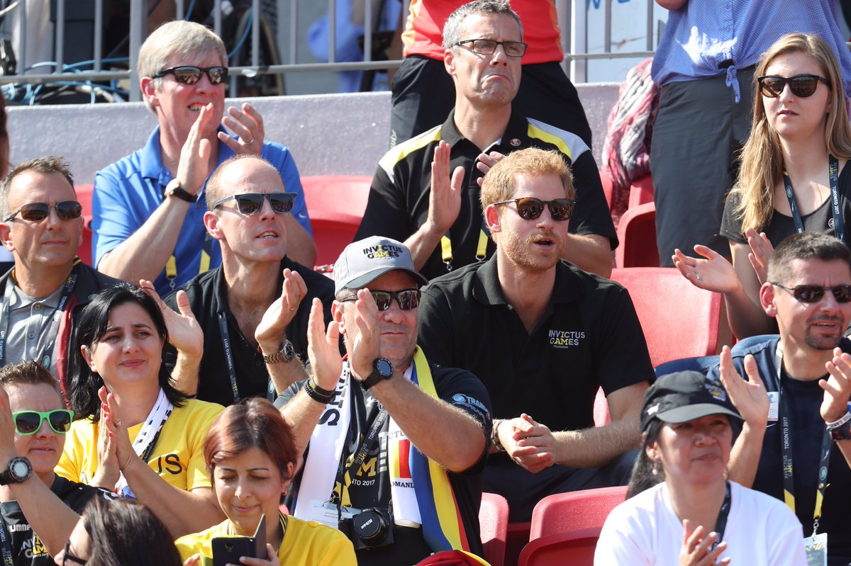 Prince Harry is cheering on the competitors on the first day of athlet...