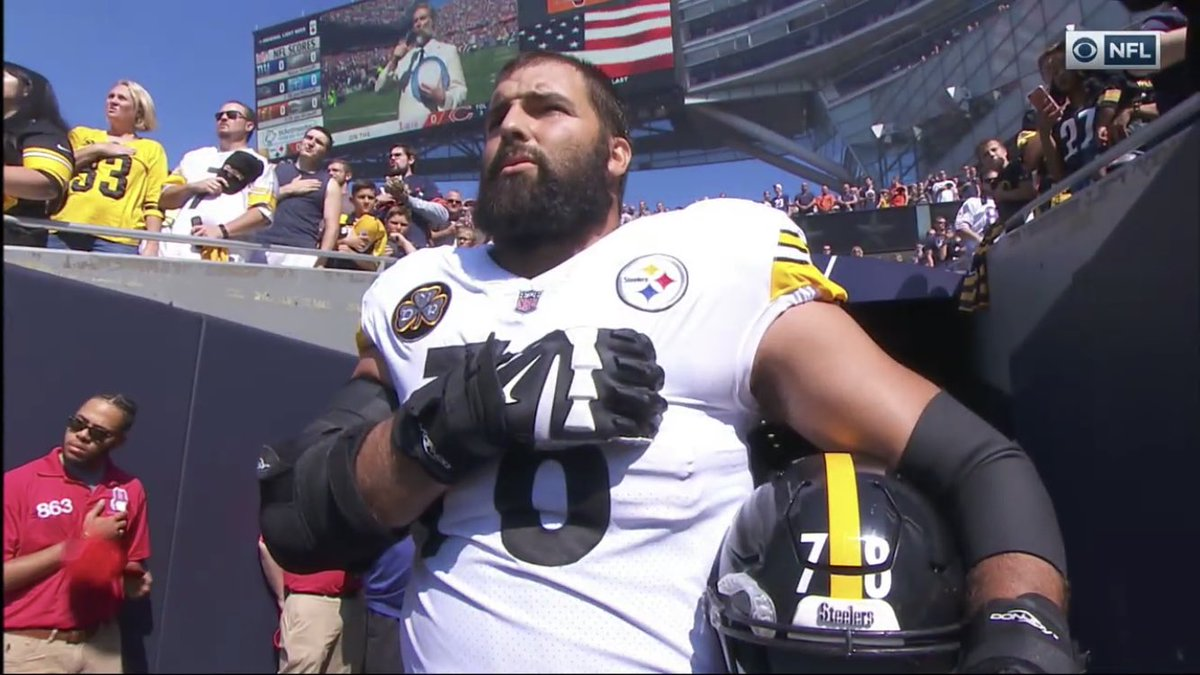 4abb5dcf8 No Steelers were on the sideline during the anthem. LT Alejandro  Villanueva