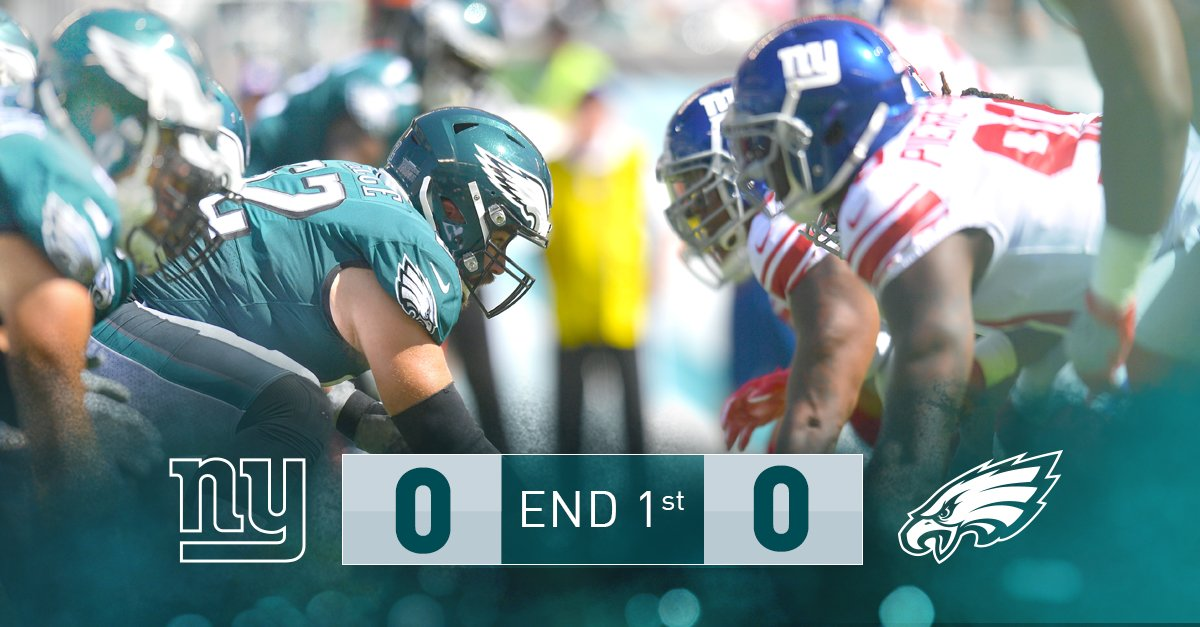 Scoreless after one. #Eagles are driving. #NYGvsPHI https://t.co/5KNxDJHbPl