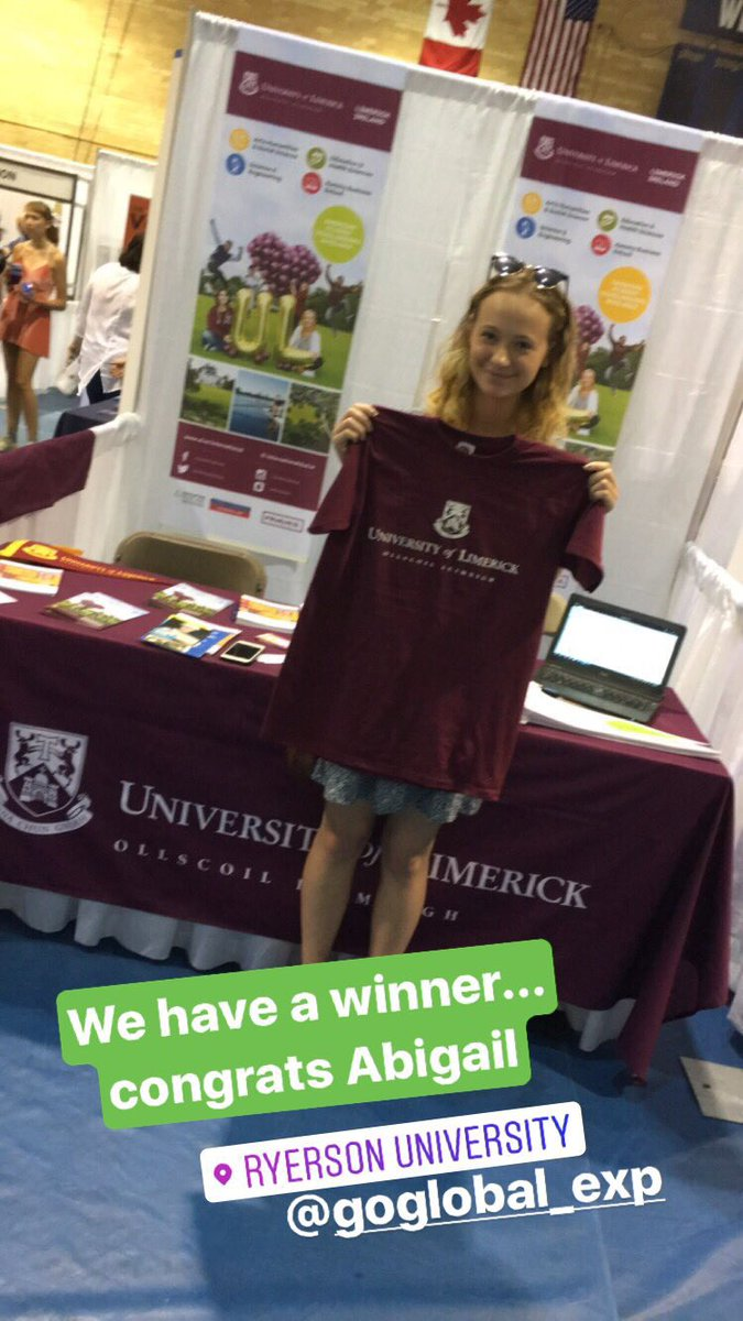 We have a winner.... congrats Abigail ... Hopefully we will see you on campus next September. #studyatul @GoGlobalExpo @UL<br>http://pic.twitter.com/M4v3QmfCkZ