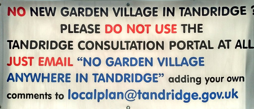 We object to any #GardenVillage in #Tandridge. Pls see image to show how to add your voice + send your email before 9Oct #Surrey #GreenBelt<br>http://pic.twitter.com/CmkxsYkchX
