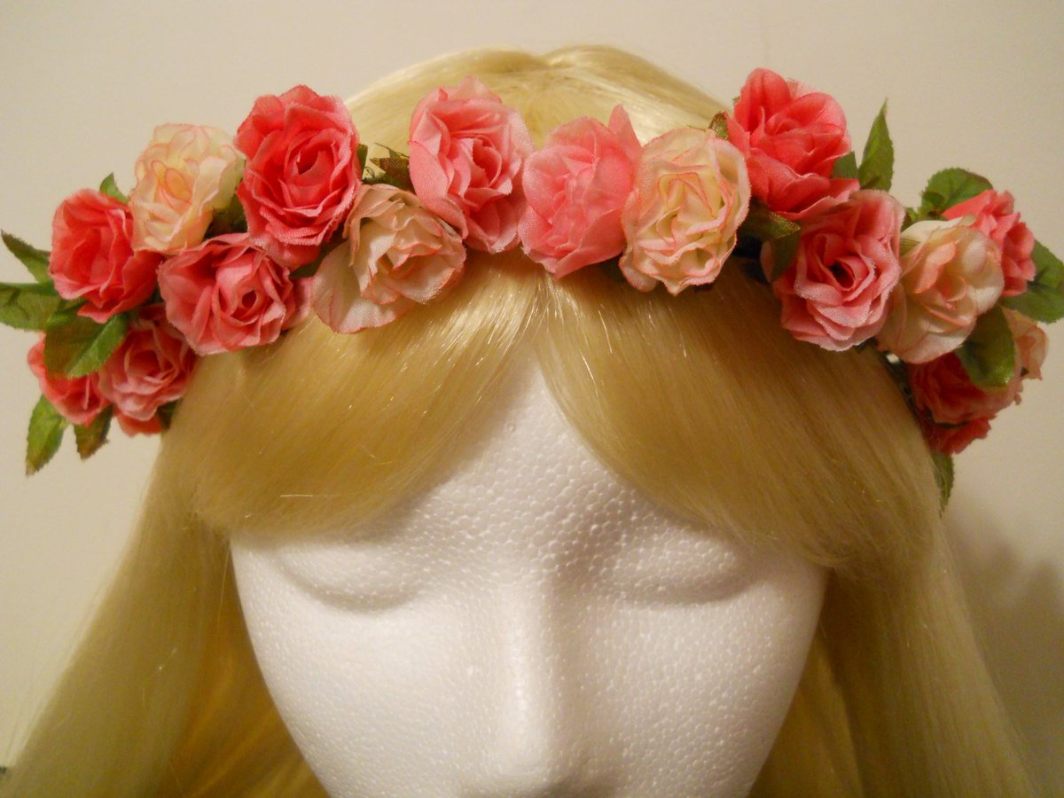 Flower Crown, Head Wreath, 3 Pink Roses Light Pink, Hot Pink to Fuc…  http:// tuppu.net/a931c47  &nbsp;   #Prom #FestivalHeadband<br>http://pic.twitter.com/EHy0LZ5M7t