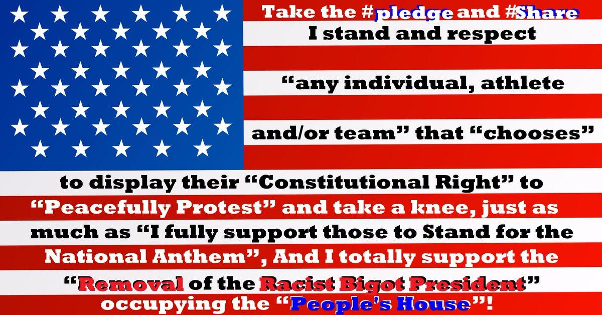 Take this #pledge &amp; #RetweeetPlease I stand &amp; #respect...  #TakeAKnee #TakeAKneeNFL #TakeAStand #ColinKapernick #ImpeachTrumpNOW #NFLBoycott<br>http://pic.twitter.com/uzAWafLsHL