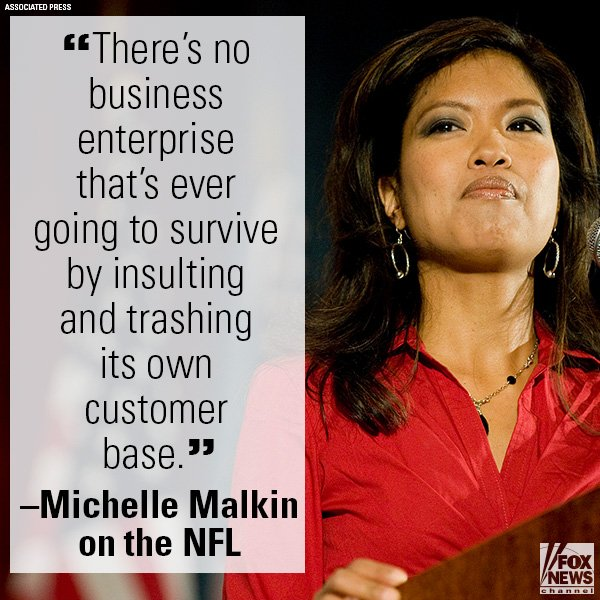 On 'Justice,' @MichelleMalkin said that the @NFL players' National Anthem protests are losing customers. https://t.co/d5O16sprQ7