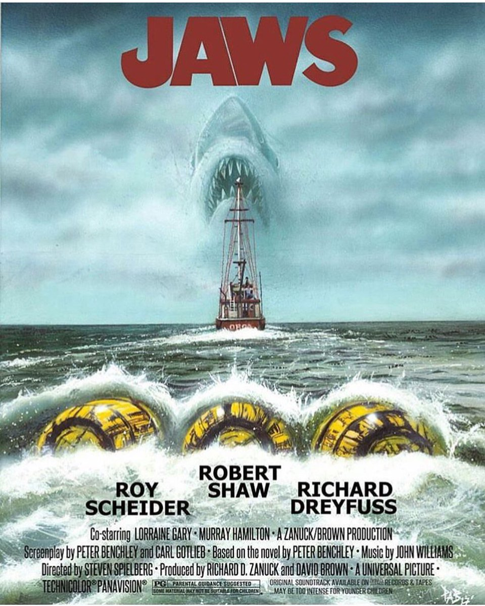 """He can&#39;t with three barrels on him. Not with three he can&#39;t!"" Art by Paul Butcher  #jaws #shark #sharks #film #movie @3YellowBarrels<br>http://pic.twitter.com/HLFIvm9IWW"