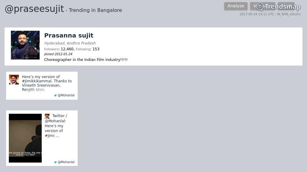Prasanna Sujit, @praseesujit is now trending in #Bangalore  https://www.trendsmap.com/r/IN_BAN_xtkumc