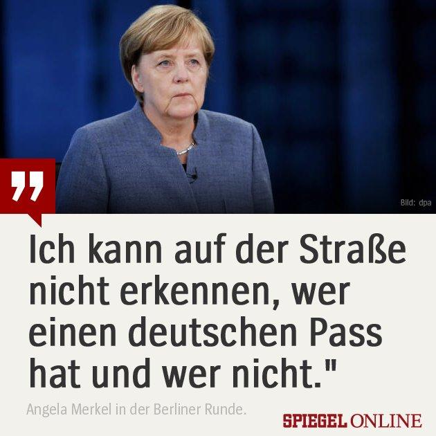 Angela Merkel antwortet auf die Aussage von AfD-Chef Jörg Meuthen, er sehe auf der Straße kaum noch Deutsche. #BTW17 #BerlinerRunde