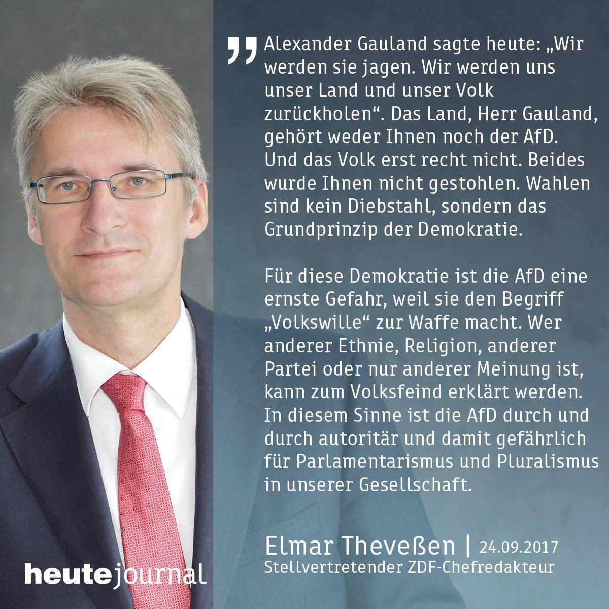 'Das Land, Herr Gauland, gehört weder Ihnen noch der AfD. Und das Volk erst recht nicht', kommentiert der stellv. @ZDF-Chefredakteur.