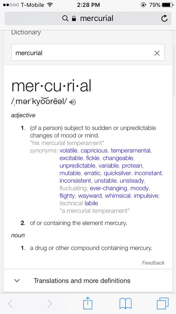 Mercurial temperament