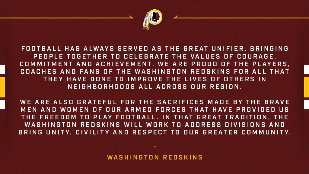 A statement from the Washington Redskins. https://t.co/GsCMfWTZ7T
