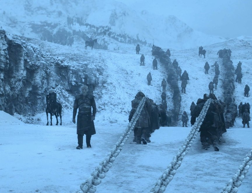 Bad Physics in #GameOfThrones: Pulling a dragon out of a lake? Chains need to be straight, and not curve over hill and dale. <br>http://pic.twitter.com/VIJlIuDz3L