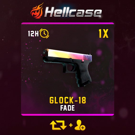 Glock-18 | Fade #Giveaway:  RT &amp; Follow &amp; Trade URL CLICK:  http:// goo.gl/TfLwiw  &nbsp;    Winner in 12h!  #hellcase<br>http://pic.twitter.com/X7I5c4EmGO