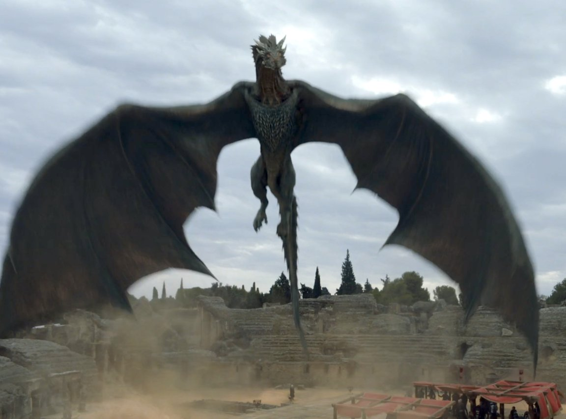 Good Bio-Physics in #GameOfThrones: The Dragon Wingspans are sensibly large, as their body weight would require for flight. <br>http://pic.twitter.com/gzD5wI38u5