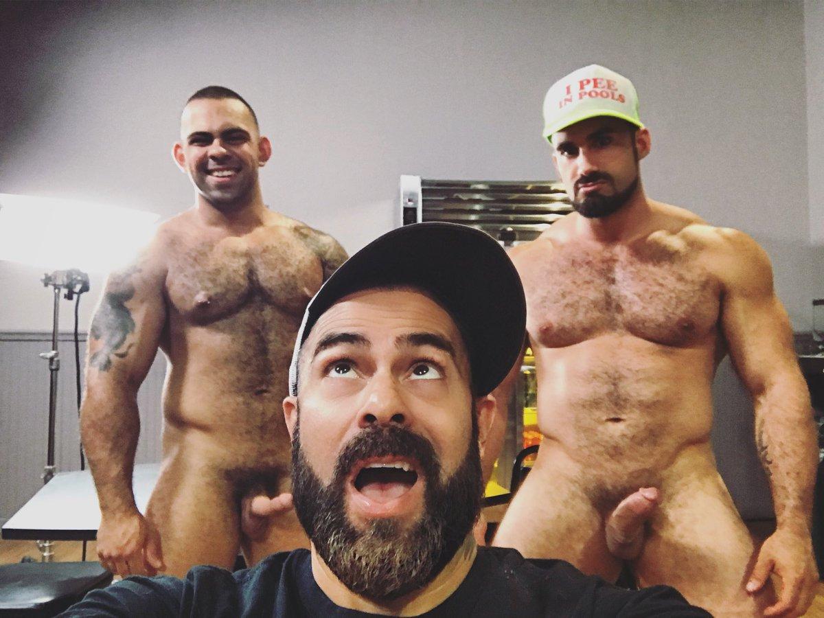 Supporting Gay Porn Stars@ JaxtonWheeler and@ LorenzoFlexx with@ iamstevecruz on the set of